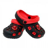Wholesale Footwear Boys Garden Shoes In Black And Red