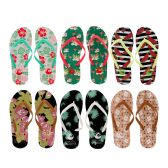 Wholesale Footwear Woman's Printed Slim Flip Flop With Sleek Straps
