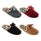Wholesale Footwear WOMENS LEOPARD BOW SLIPPER