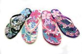 Wholesale Footwear Womens Flowery Flip Flops With Decorative Straps