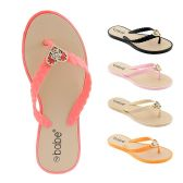 Wholesale Footwear Women's Flip Flop With Braided Straps And Crystal Heart Ornament