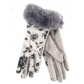 Wholesale Footwear Ladies Winter Glove Flower Print With Fur Cuff