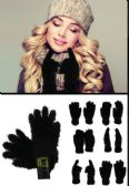 Wholesale Footwear Fuzzy Black Fashion Gloves