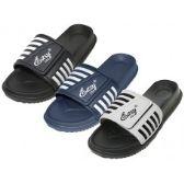 Wholesale Footwear Men's Velcro Upper With Stripe Slide Sandal