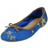 Wholesale Footwear Women's Satin Brocade Ballet Flat Shoes In Blue Color