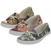 Wholesale Footwear Women's Floral Print Canvas Lace Up Shoes