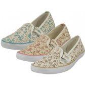 Wholesale Footwear Women's Double Velcro Floral Print Canvas Shoes