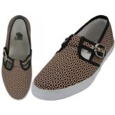 Wholesale Footwear Women's Solid T-Strap Canvas Shoes Micro Printed