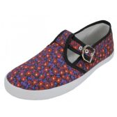 Wholesale Footwear Women's Solid T-Strap Canvas Shoes Mini Meadow Print