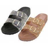 Wholesale Footwear Women's Double Buckle With Rhinestone Upper Sandals
