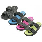 Wholesale Footwear Women's Double Strap With Side Buckle Upper Sandals