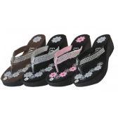 Wholesale Footwear Womens Flower Print Wedge With Rhinestone Look Flip Flops