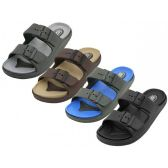 Wholesale Footwear Men's Super Soft Double Strap With Side Buckle Upper Sandals