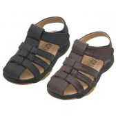 Wholesale Footwear Boys PU Leather Upper Velcro Sandals