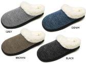 Wholesale Footwear Women's Knit Clog Slippers w/ Faux Fur Lining & Memory Foam Insoles