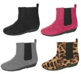Wholesale Footwear Girl's Micro suede Chelsea Ankle Boots - Solid Colors & Leopard Print
