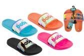 Wholesale Footwear Women's Slide Sandals w/ Holographic Babe Print