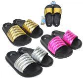 Wholesale Footwear Women's Black Moto Slide Sandals w/ Metallic Straps