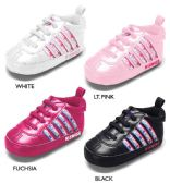 Wholesale Footwear Infant Girl's Sneakers w/ Logo Webbing Detail & Elastic Laces