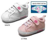 Wholesale Footwear Infant Girl's Perforated Sneakers w/ Elastic Laces & Floral Print Heel