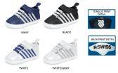 Wholesale Footwear Infant Boy's Contrast Stripe Sneakers w/ Elastic Laces & Velcro Straps