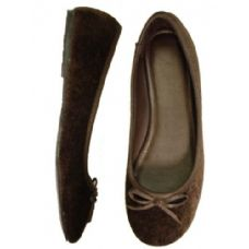 Wholesale Footwear Ladies' Velvet Ballerina *Brown Size: 6-11