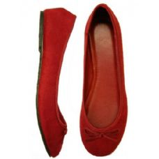 Wholesale Footwear Ladies' Velvet Ballerina *Maroon Size 5-10