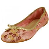 Wholesale Footwear Women's Satin Brocade Floral Printed Ballet Shoes ( Pink Color Only )
