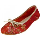 Wholesale Footwear Women's Satin Brocade Floral Printed Ballet Shoes