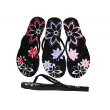 Wholesale Footwear Ladies' Rhinestone Flower Thong