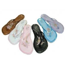 Wholesale Footwear Ladies' Sequin-Trimmed Thongs Size: 5-10