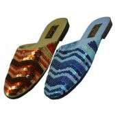 Wholesale Footwear Women's Sequin Sandal Assorted Blue And Gold