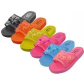 Wholesale Footwear Women's Platform Open Toe Mesh Slippers, Size Range 6-11 Assorted