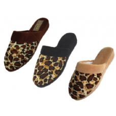 Wholesale Footwear Ladies' Velour Leopard Print Slippers
