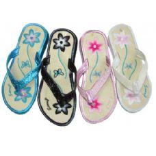 Wholesale Footwear Ladies' Flower Emb. Thong W/ Sequin