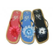 Wholesale Footwear Ladies' Cork Sole Floral Thong