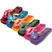 Wholesale Footwear Women's Square Floral Top Flip Flops