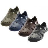 Wholesale Footwear Men's Walking Light Weight Velcro Sandals ( *Asst. Black Navy Brown And Khaki )