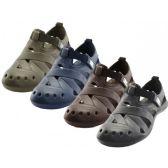 Wholesale Footwear Men's Walking Light Weight Velcro Sandals ( *asst. Black Navy Brown And Khaki )
