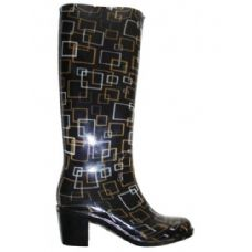 Wholesale Footwear Ladies Square Pattern Rainboot With Heel