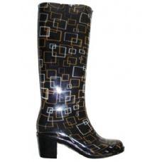 Wholesale Footwear Ladies Square Pattern Rainboot With Heel