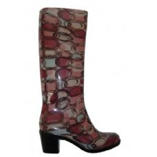 Wholesale Footwear Ladies Circle Pattern Rainboot With Heel