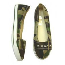 Wholesale Footwear Ladies' Camouflage Canvas Shoe W/ Buckle