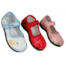Wholesale Footwear Girl Brocade MaryJane Colors: Blue, Pink & Red (Assorted)