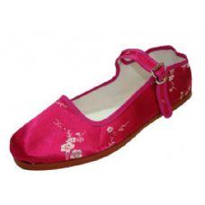Wholesale Footwear Ladie's Floral MaryJane Fuchsia Plum Flower