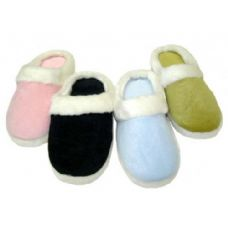 Wholesale Footwear Girl Solid Color Velour with Fur Cuff Colors: Black, Lt. Blue, Lt. Pink and Green