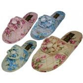 Wholesale Footwear Ladies' Satin Floral Slippers Colors: Blue, Pink, Green