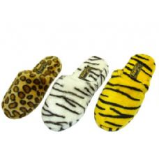 Wholesale Footwear Ladies Plush Animal Print Slippers