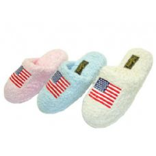 Wholesale Footwear Ladies' US Flag Chenille Slippers
