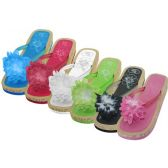 Wholesale Footwear Women's Silk Flower Top Slide Flip Flops